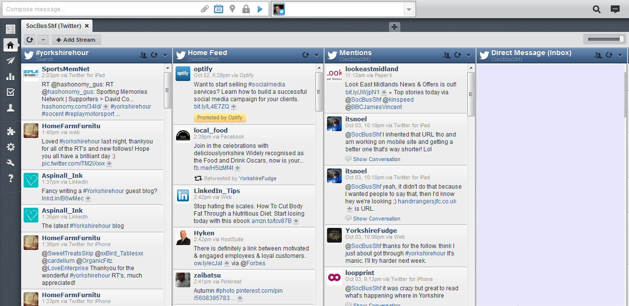 Hootsuite Yorkshirehour stream
